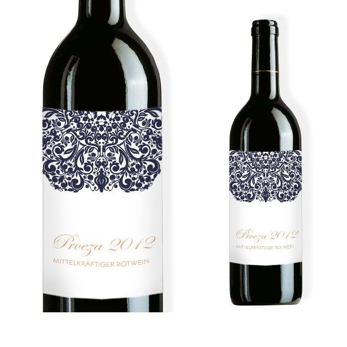 Weinflaschenetikett mit barockem Design in Weiß und Blau