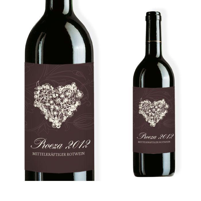 Weinflaschenetikett zur Hochzeit in Braun mit floralem Herz