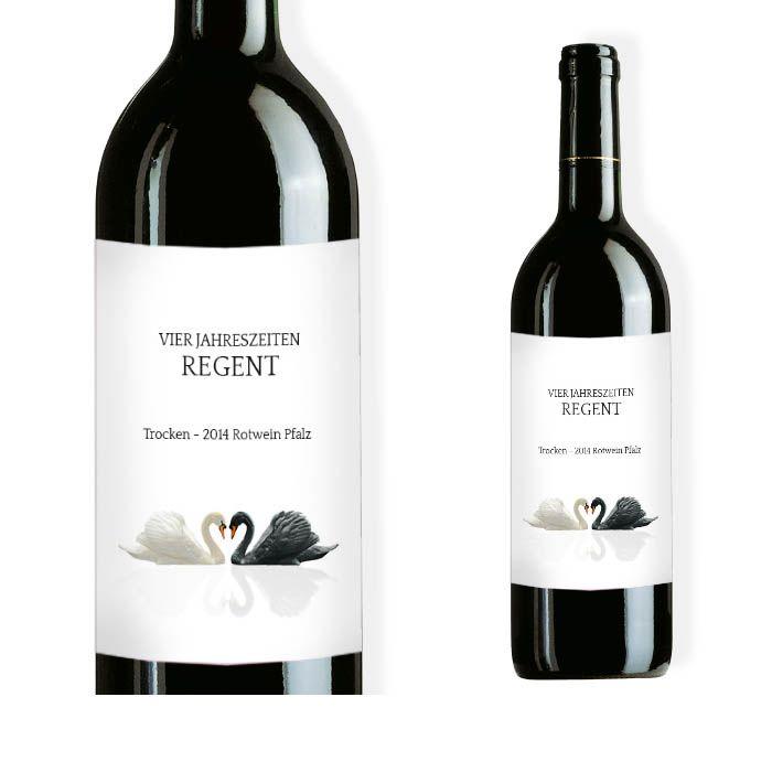 Elegantes Weinflaschenetikett zur Hochzeit mit zwei Schwänen
