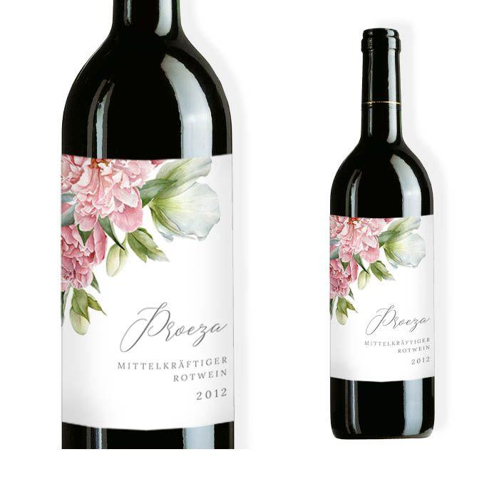 Weinflaschenetikett mit eleganten Blüten