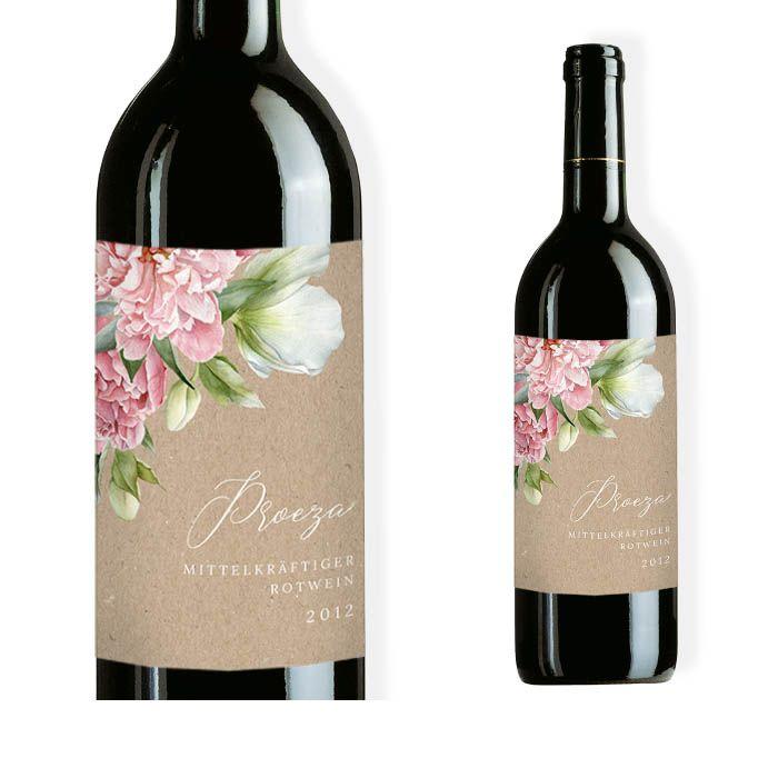 Weinflaschenetikett mit eleganten Blüten in Naturpapieroptik