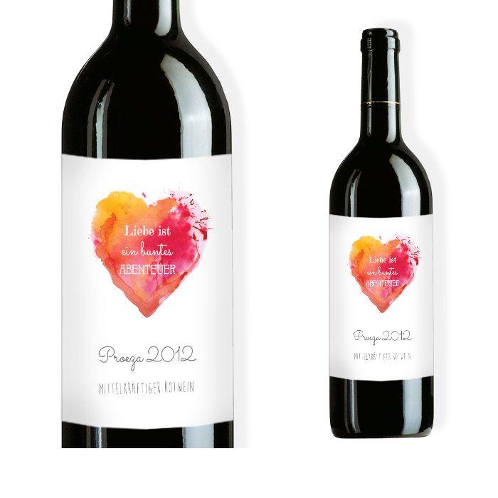 Weinflaschenetikett mit Watercolor Herz in Rot und Orange