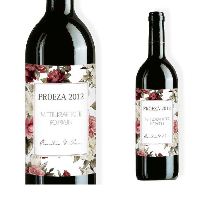 Weinflaschenetikett mit Pfingstrosen Design in Rot und Weiß