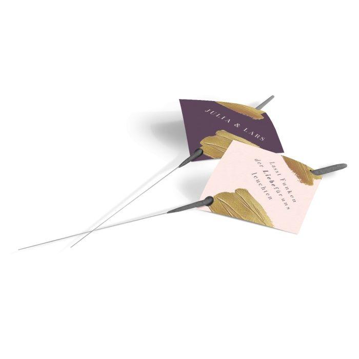Wunderkerzenanhänger zur Hochzeit im modernen Design mit Goldbrush