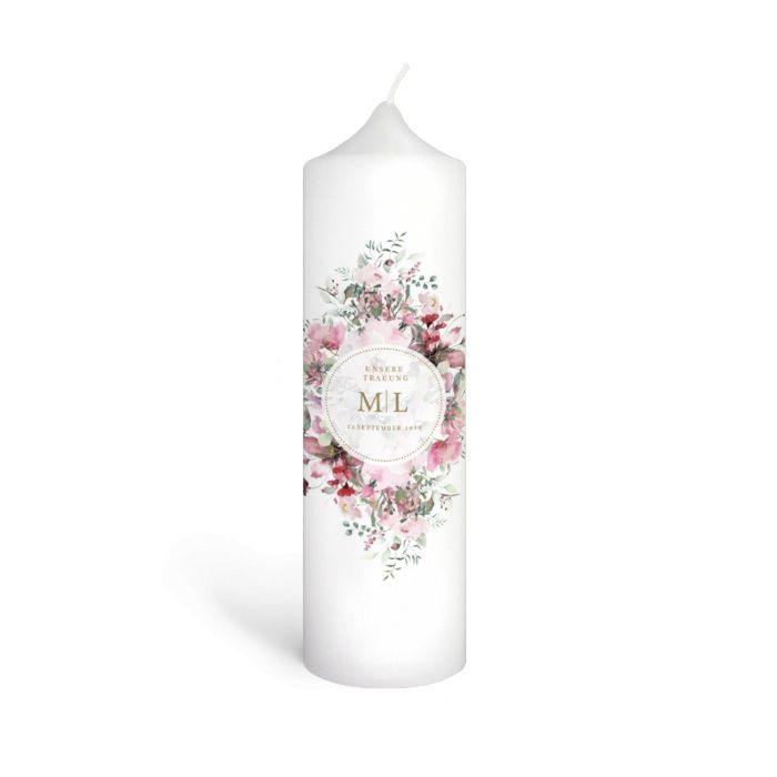 Wunderschöne Traukerze mit Aquarellblumen für Ihre Hochzeit