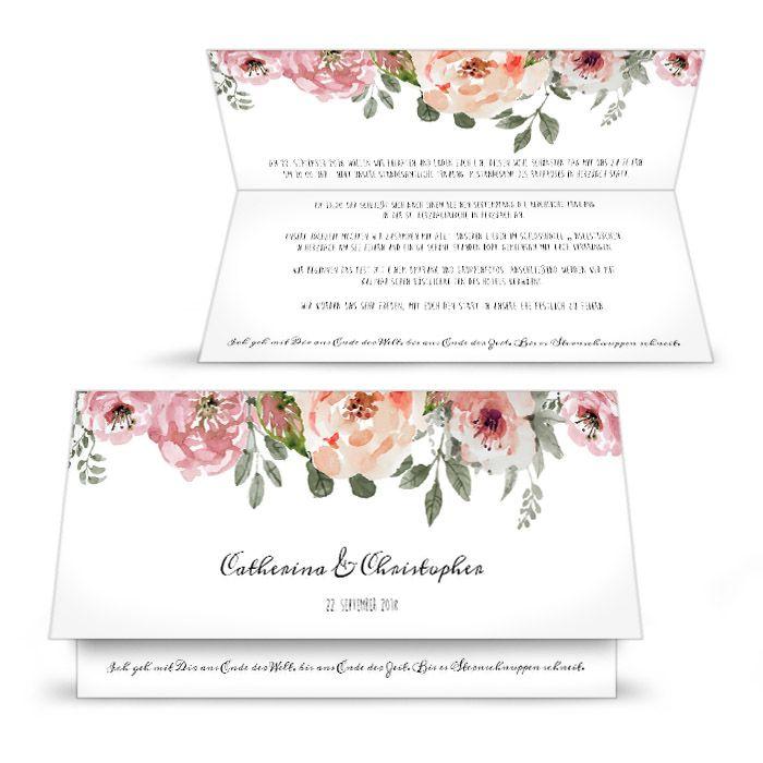 Vintage Hochzeitseinladung mit romantischen Aquarellblüten