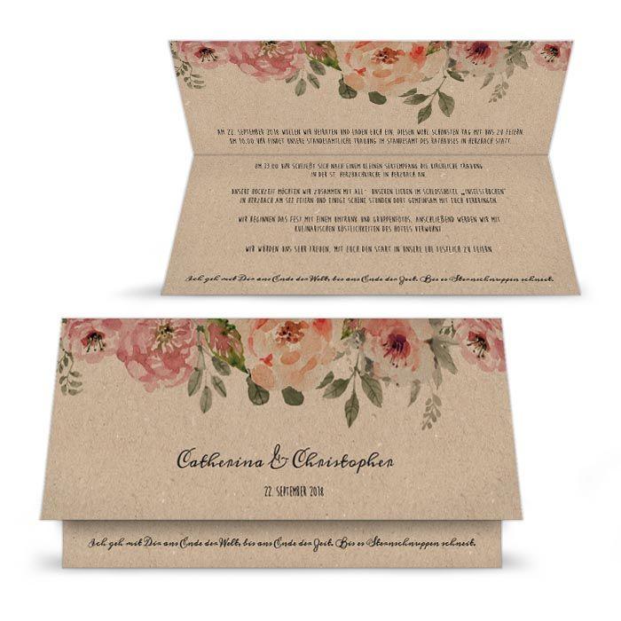 Hochzeitseinladung mit Aquarellblumen in Kraftpapieroptik