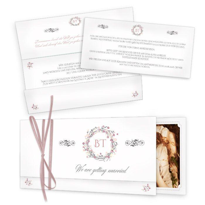 Vintage Hochzeitseinladung in Weiß mit rosa Blütenkranz