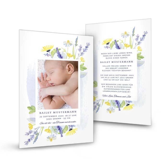 Minimalistische Postkarte zur Geburt mit floralem Design