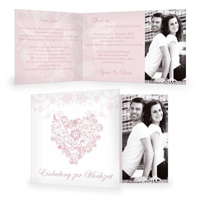 Einladung zur Hochzeit mit floralem Herz in Rosa und Foto