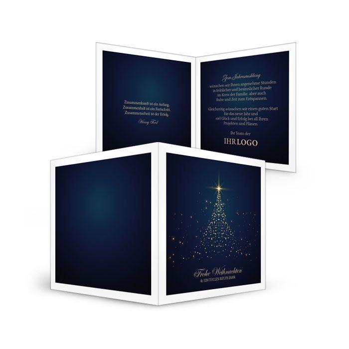 Zauberhafte Weihnachtskarte mit strahlendem Weihnachtsbaum