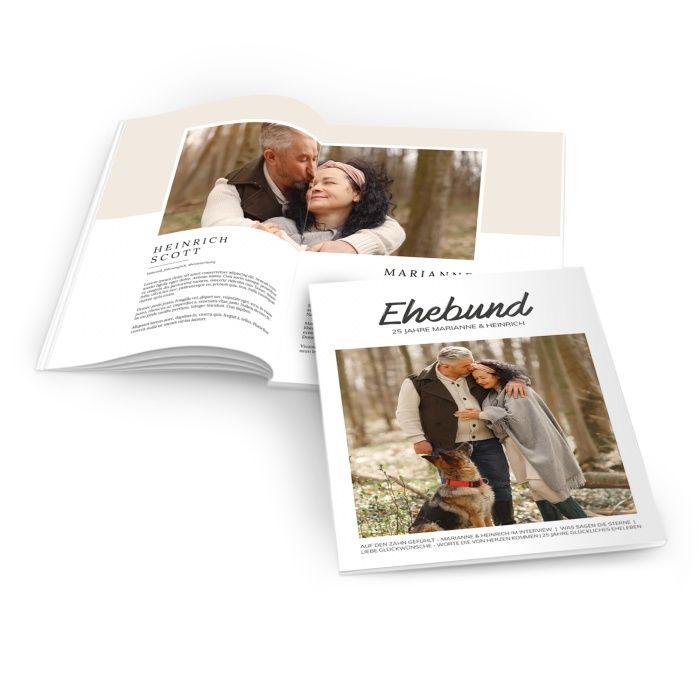 Zeitung zur Silberhochzeit im modernen Magazin Layout mit großem Foto - online selbst gestalte