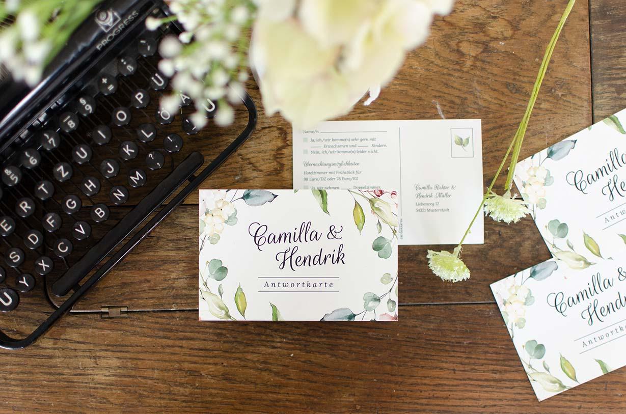 Antwortkarten zur Hochzeitseinladung online selbst gestalten bei carinokarten