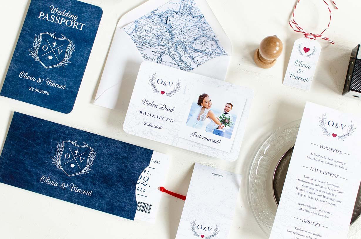 Hochzeitskarten mit Reisemotto und Reisepass Flugticket Design - carinokarten