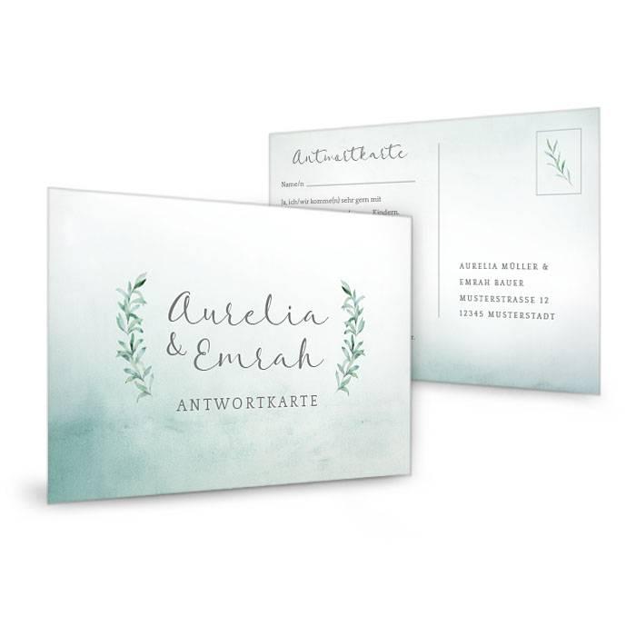 Greenery Antwortkarte zur Hochzeit mit Aquarell Blättern - carinokarten