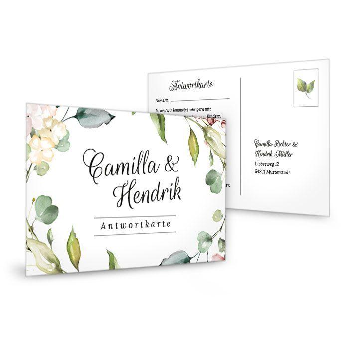 Greenery Antwortkarte zur Hochzeit mit Blätterkranz im Aquarellstil - carinokarten