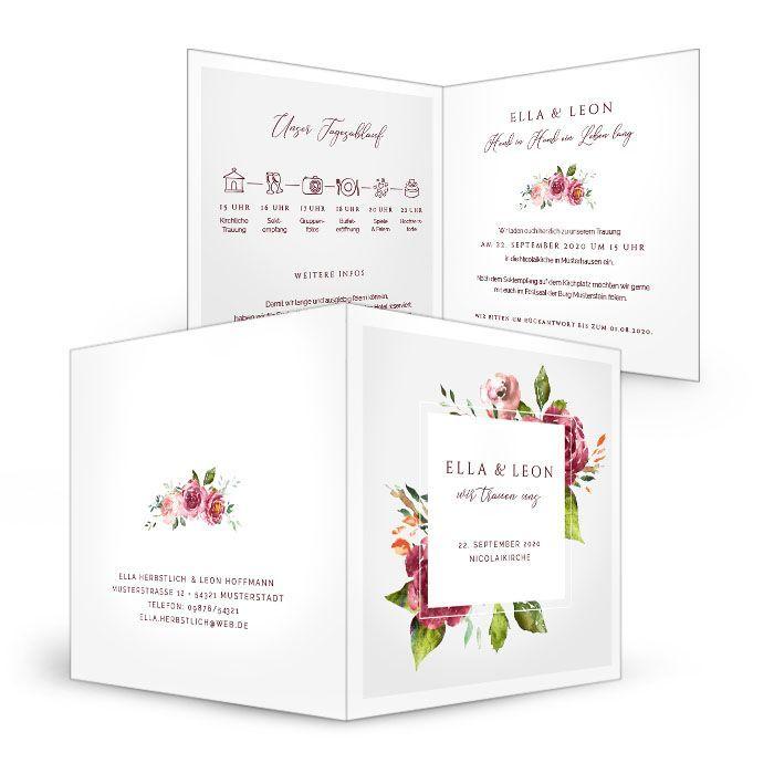 Florale Hochzeitseinladung mit Aquarell Rosen in Bordeaux - carinokarten