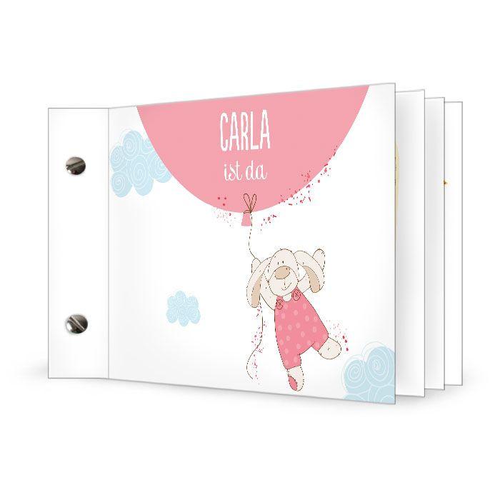 Süße Geburtskarte mit Häschen und Ballon als Booklet - carinokarten