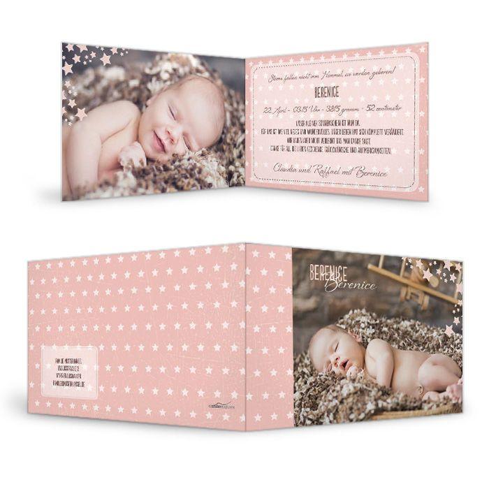 Moderne Geburtskarte in Apricot mit Pünktchen und großen Fotos - carinokarten
