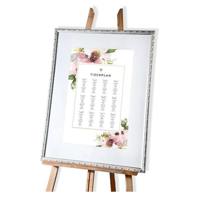 Großer Tischplan mit Aquarellblumen für die Sitzordnung zur Hochzeit - carinokarten