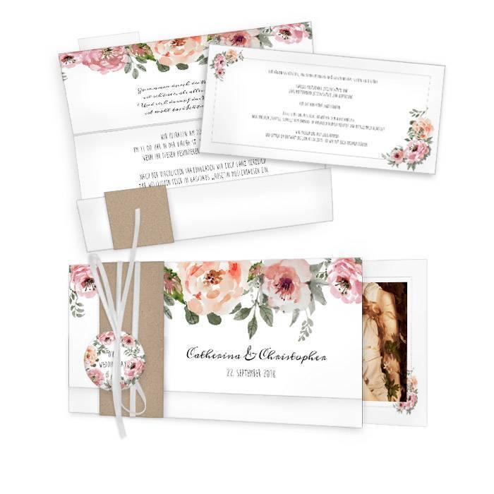 Vintage Hochzeitseinladung mit Blumen im Aquarell Stil online selbst gestalten - carinokarten