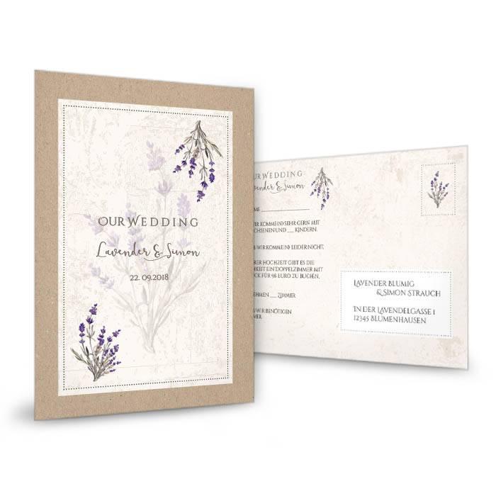 Antwortkarte zur Hochzeit in Kraftpapieroptik mit Lavendelzweig - carinokarten