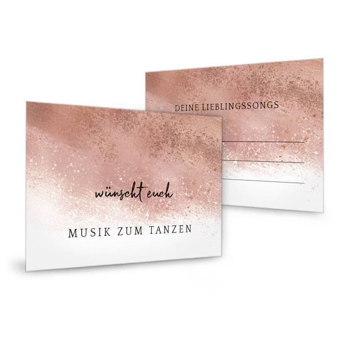 Musikwunschkarte zur Hochzeit mit Brush Stroke in Roségold - carinokarten