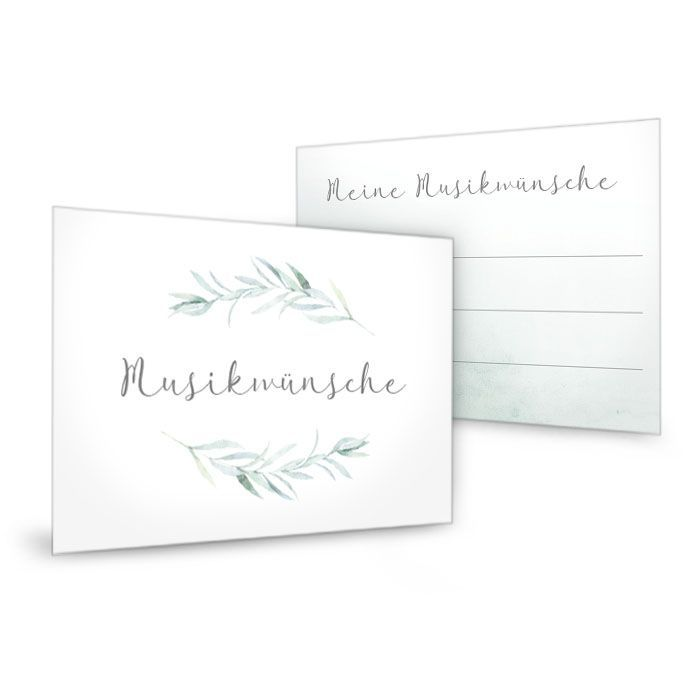 Greenery Musikwunschkarte zur Hochzeit mit Aquarell Blätterzweigen - carinokarten