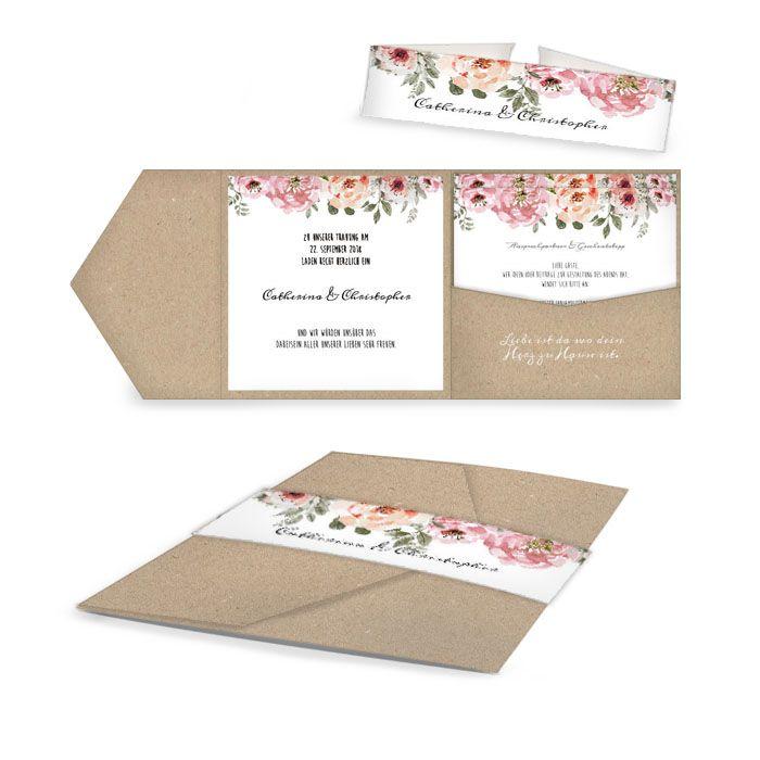 Vintage Hochzeitseinladung als Pocketfold in Kraftpapieroptik mit Aquarell Rosen - carinokarten