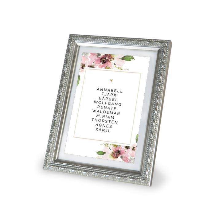 Tischkarte zur Hochzeit für Gruppentische mit Gästenamen und Aquarellblumen - carinokarten