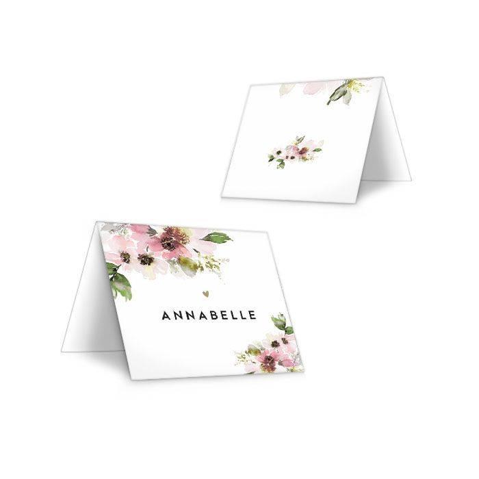 Kleine Platzkarte zur Hochzeit als Klappkarte mit Aquarellblumen - carinokarten