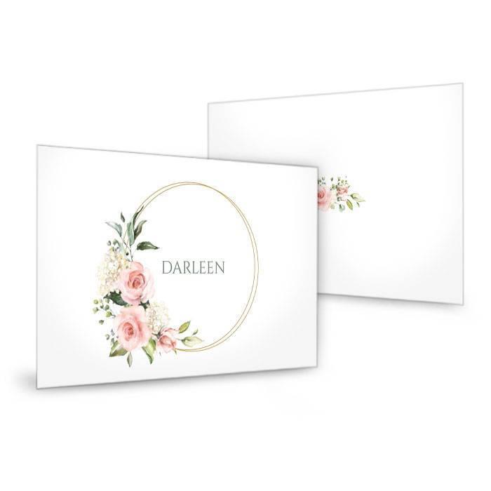 Elegante Platzkarte zur Hochzeit mit Rosen und Goldreif - carinokarten